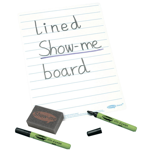 Image of Show-me Super Tough A4 Lined Boards, Pens and Erasers (Pack of 100)
