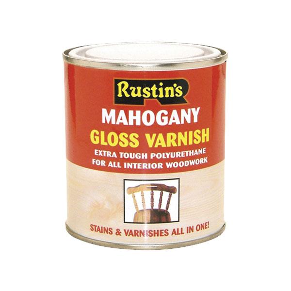 Image of Rustins POGA500 Polyurethane Varnish & Stain Gloss Antique Pine 500ml