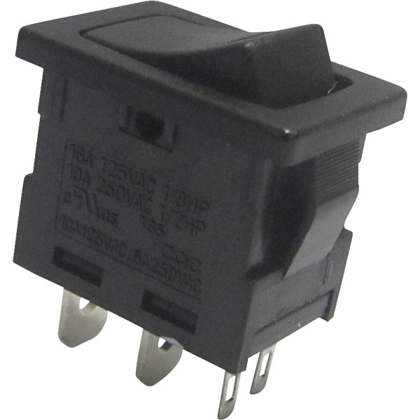 2 x Black Mini Round On-Off Rocker Switch SPST 12A SCI R13-270A-02