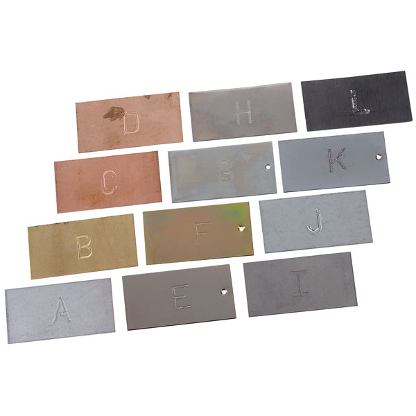 Image of EiscoScience Mixed Metal Strips - 50 x 25mm Each - Set of 12