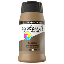 Daler Rowney System 3 Acrylic Paint Rich Gold (500ml)