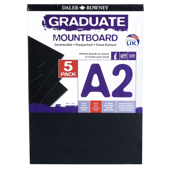 DALER ROWNEY GRADUATE A3 BLACK MOUNTBOARD PACK OF 4