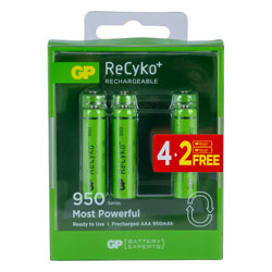 GP GPRHC103C173 ReCyko+ 950 AAA 4+2 NiMH Rechargeable Batteries