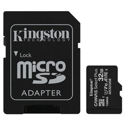 Kingston SDCS2/32GB Canvas Select Plus microSD Card With Adaptor 32GB