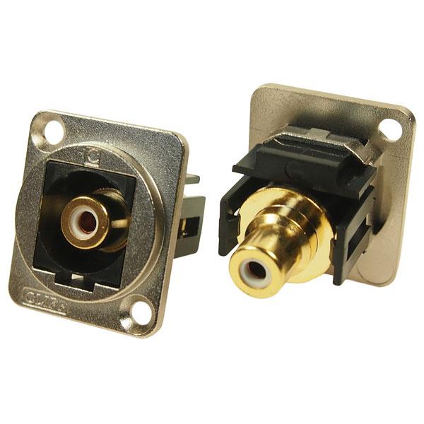 Cliff CP30231M Metal XLR Feedthrough RCA Phono White CSK Hole