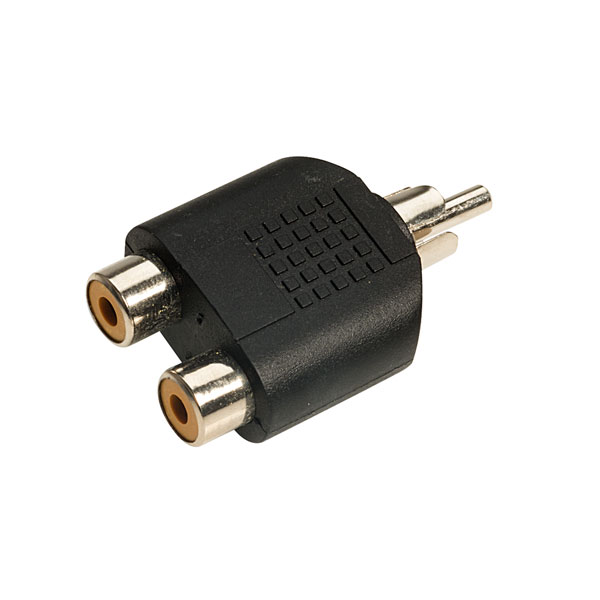 TruConnect Standard Phono Plug to 2 Phono Sockets Adaptor