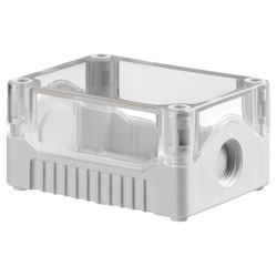 Evatron DE02S-A-TG-0 IP67 ABS Enclosure 2xM20 Grey Base Clear Top 106x80x53mm