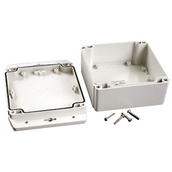 Hammond 1555NF42GY IP67 ABS Enclosure with Flanged Lid L Grey 120 x 120 x 62mm