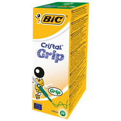BiC Medium Cristal Pen with Grip Green Pack 20