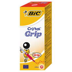 BiC Medium Cristal Pen with Grip Red Pack 20