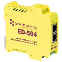 Brainboxes ED-504 Ethernet to 4 Digital IO & RS232/422/485 Serial Port & Switch