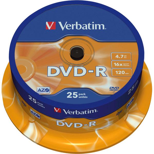 Image of Verbatim 43522 DVD-R 4.7GB 16x Matt Silver Spindle - 25 Pack