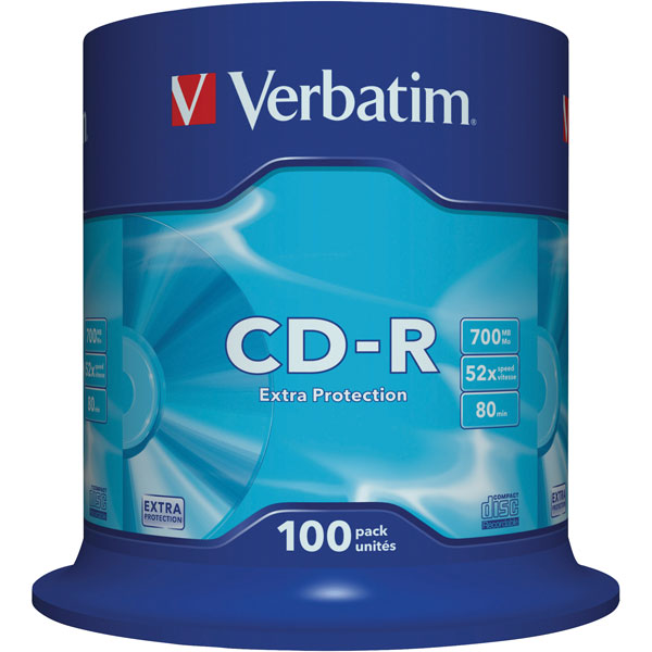 Image of Verbatim 43411 CD-R Extra Protection 52x 700MB - Pack Of 100