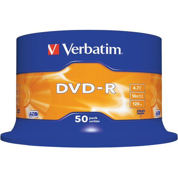 Image of Verbatim 43548 DVD-R Matt Silver 16x 4.7GB - Pack Of 50