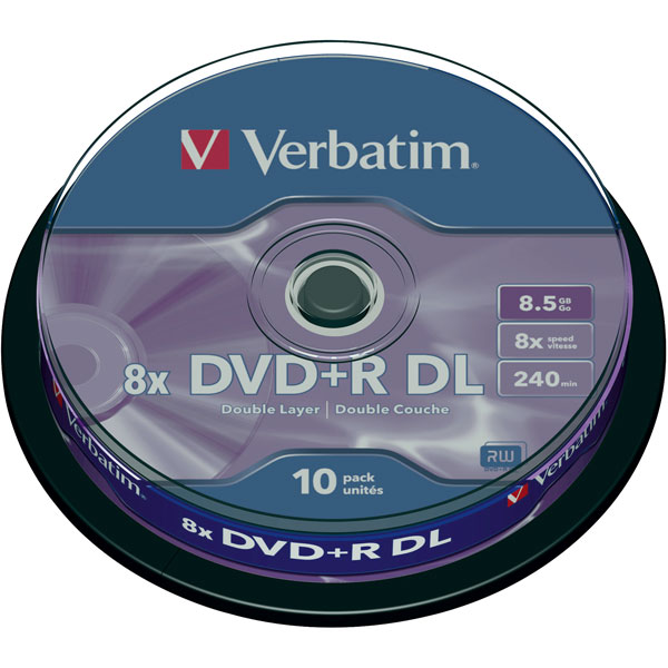 Image of Verbatim 43666 DVD+R Double Layer Matt Silver 8x 8.5GB - Pack Of 10