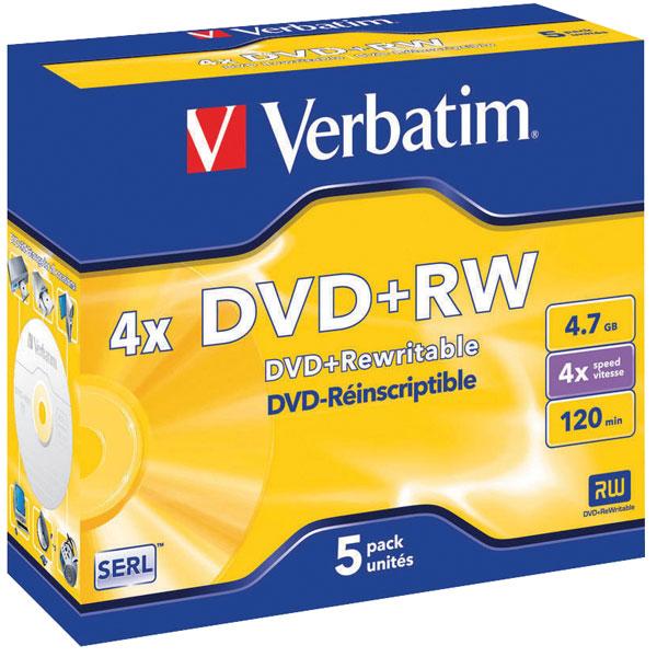 Image of Verbatim 43229 DVD+RW Matt Silver 4x 4.7GB - Pack Of 5