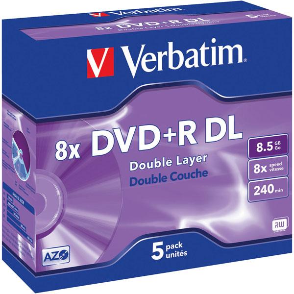 Image of Verbatim 43541 DVD+R Double Layer Matt Silver 8x 8.5GB - Pack Of 5