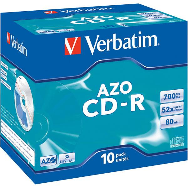 Image of Verbatim 43327 CD-R AZO Crystal 52x 700MB - Pack Of 10