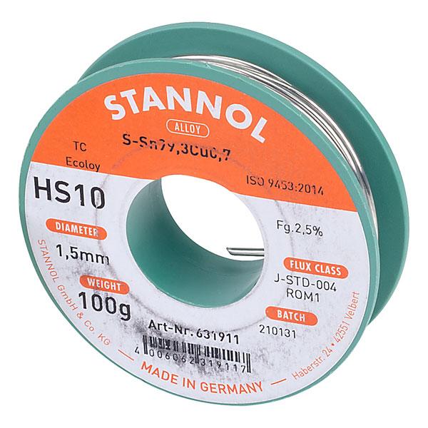 Image of Stannol 535751 Solder Wire HS10 Sn99Cu1 1.5mm 100g