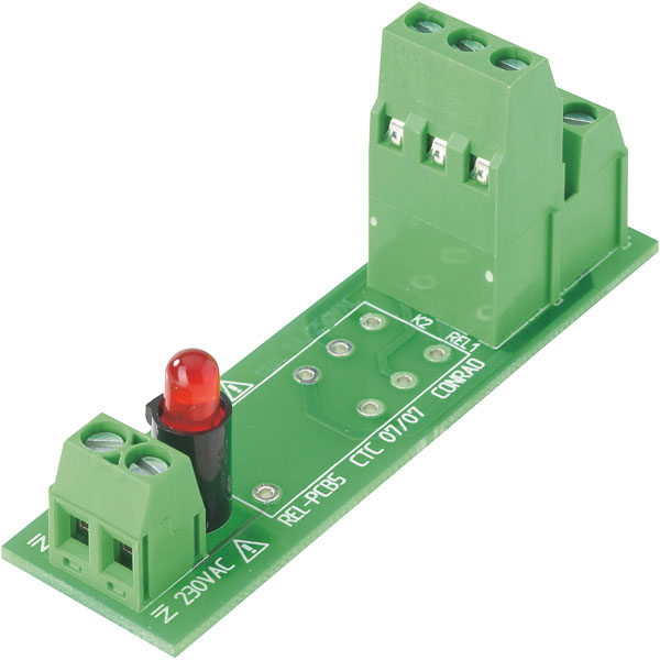 503331 Open Relay Board With Terminals For 230VAC DPDT-CO PCB Relay