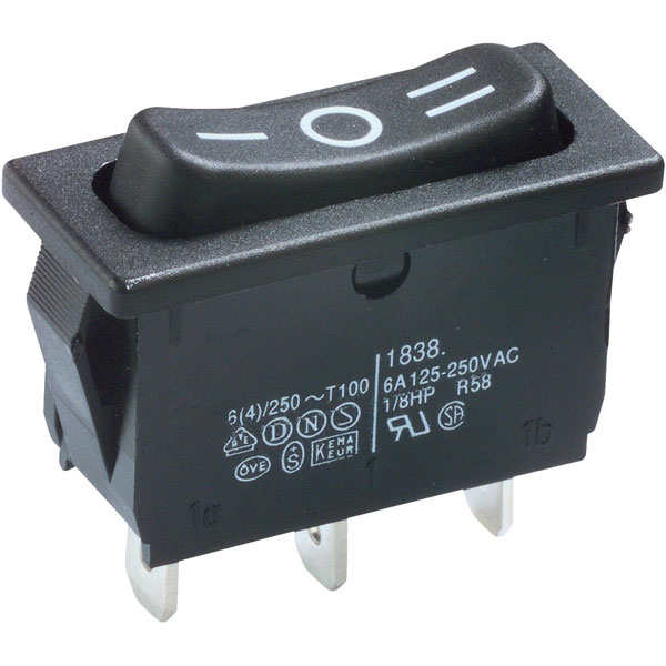 On-Off-On Rectangle Rocker Switch SPDT 6A