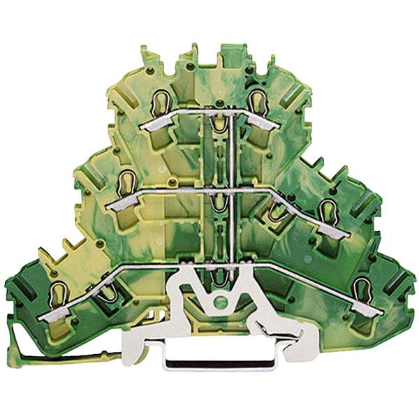 WAGO 2002-3207 PE Triple Deck 6 Conductor Ground Terminal Block Gr...