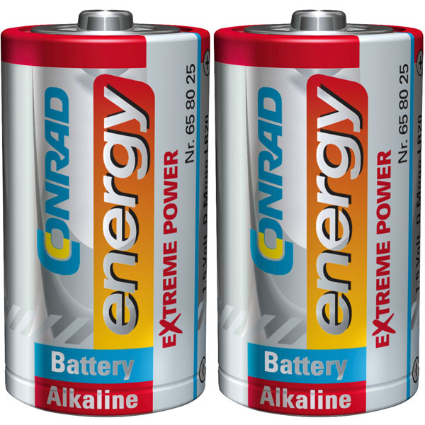 Image of Conrad Energy 658025 Extreme Power Alkaline D Battery x2