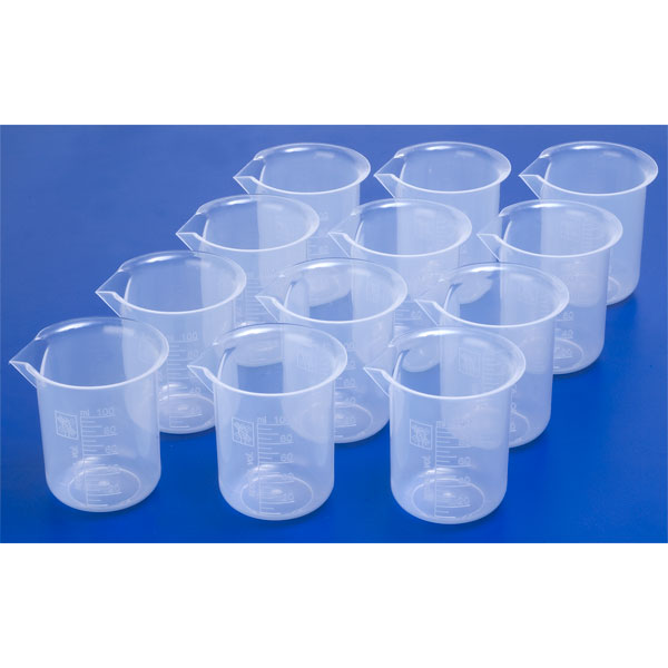 Image of RVFM Plastic Science Measuring Beakers 100ml (Pack of 12)
