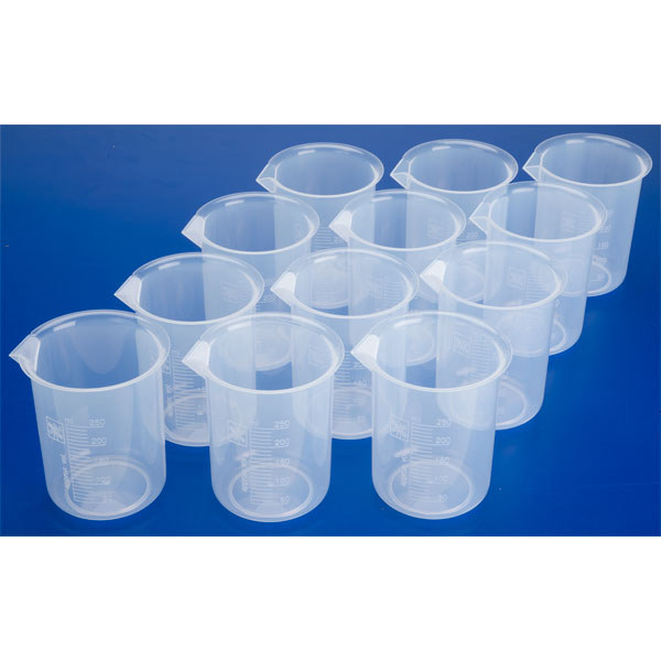 Image of RVFM Plastic Science Measuring Beakers 250ml (Pack of 12)