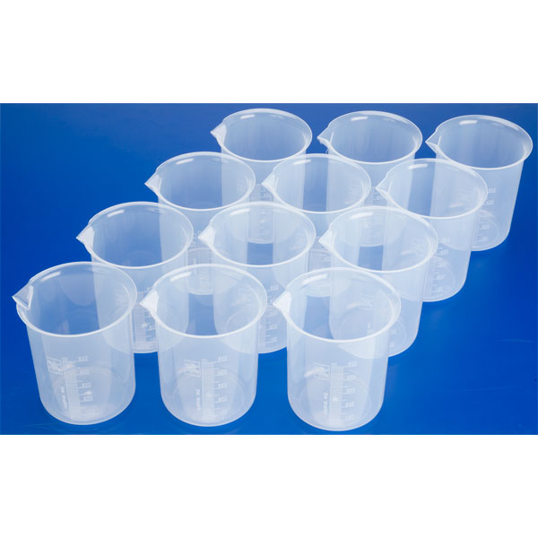 Image of RVFM Plastic Science Measuring Beakers 500ml (Pack of 12)