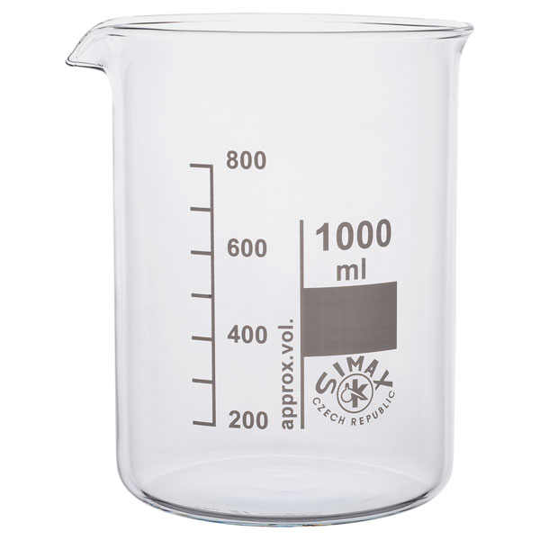 Image of Simax Low Form Beakers 1 Litre Pack 10