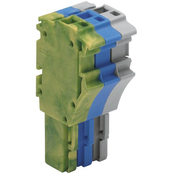 WAGO 2022-103/000-039 3p 1 Cond F Plug w Gnd End Blue Grn-ylw