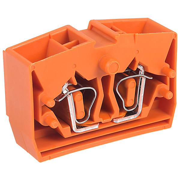 WAGO 264-336 4 Conductor Fixing Flanges End Terminal Block Orange