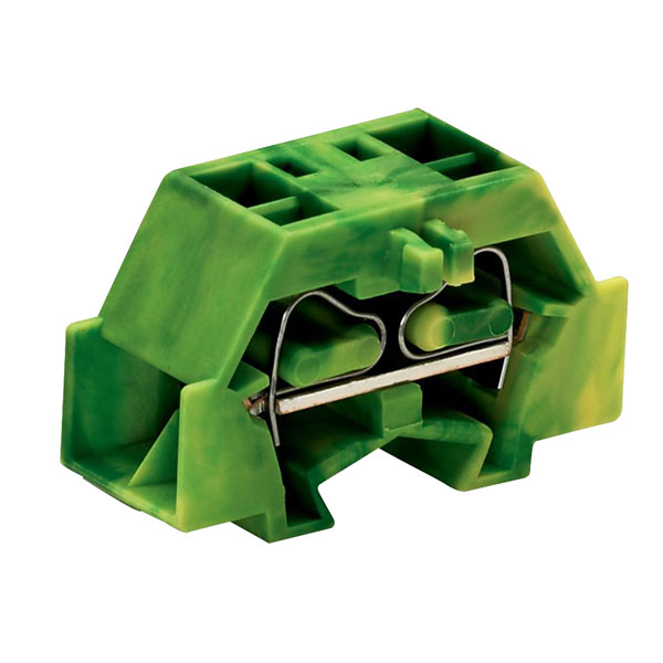 WAGO 261-337 4 Conductor Fixing Flanges Terminal Block Green-yellow