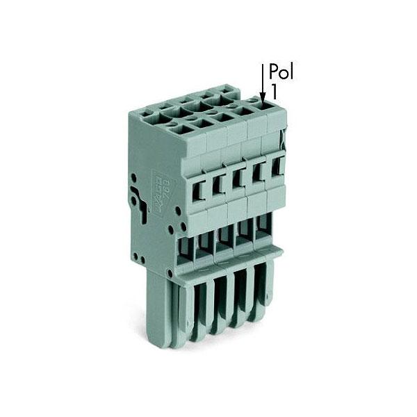WAGO 769-106 1-conductor Female Plug Codable Straight 6-pole Grey