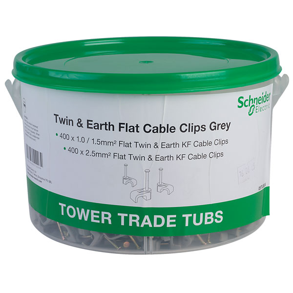 PLASTIC TUB OF CABLE CLIPS 800 TWIN /& EARTH CLIPS 400 x 1//1.5mm /& 400 x 2.5mm