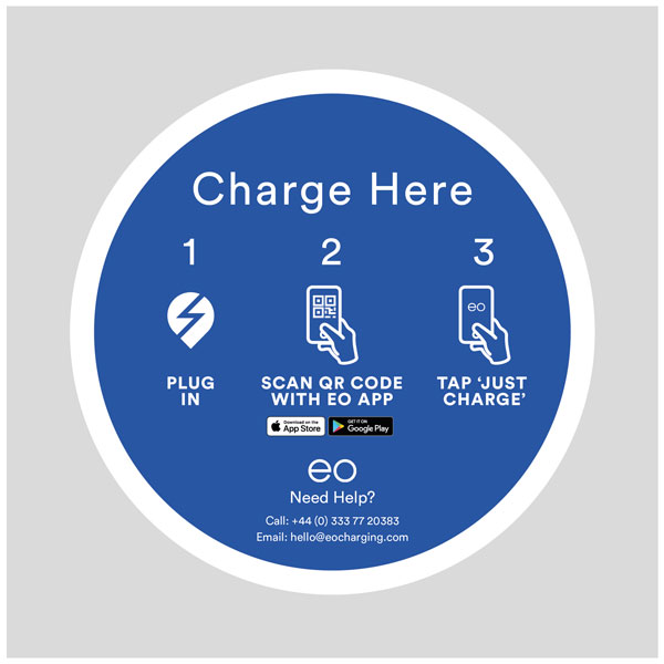 EO Charging Post Mounted EV Charger Sign - Charge Here