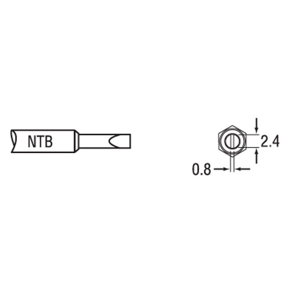 Weller NTB NT B Solder Tip - Chisel Tip 2.4 x 0.8 x 7.8mm