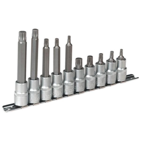 """Sealey AK6215 Spline Socket Bit Set 10pc 1/2""""sq Drive"""