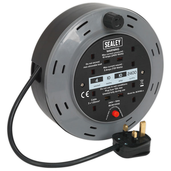 Sealey BCR10B Cassette Type Cable Reel 10mtr 4 x 230V 1.00mm² Ther...