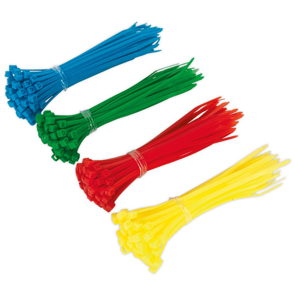 200 x Sealey Cable Ties 100 x 2.5mm Blue Green Yellow Red
