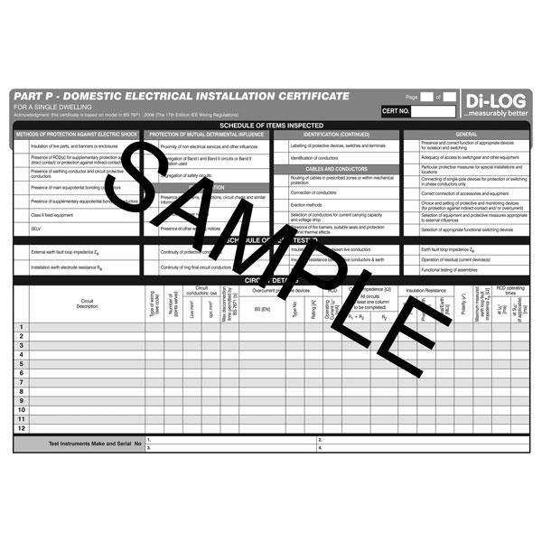Part P Certificate >> Di Log Dlc106 Part P Domestic Electrical Installation