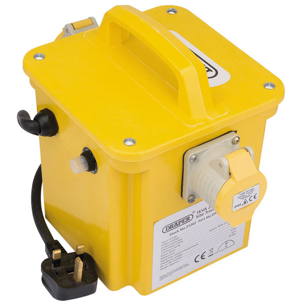 Draper 31262 1kVA 230V to 110V Portable Site Transformer