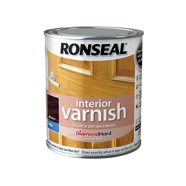 Ronseal 36829 Interior Varnish Quick Dry Satin Walnut 250ml