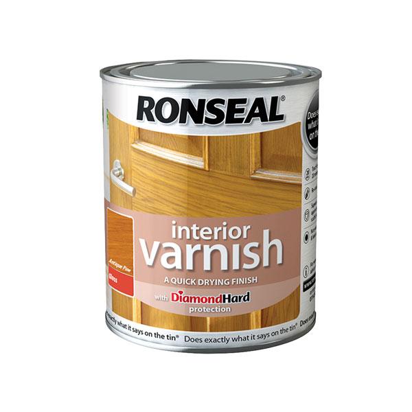 Ronseal 36849 Interior Varnish Quick Dry Gloss Antique Pine 750ml