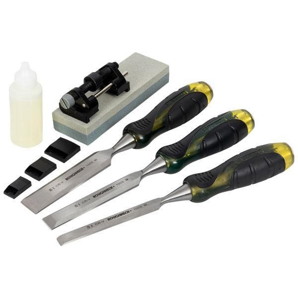 Roughneck 30-165 Professional Bevel Edge Chisel Set 3 Pc + Sharpen...