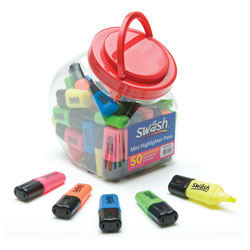 Swash Mini Highlighter Pens Assorted Tub of 50