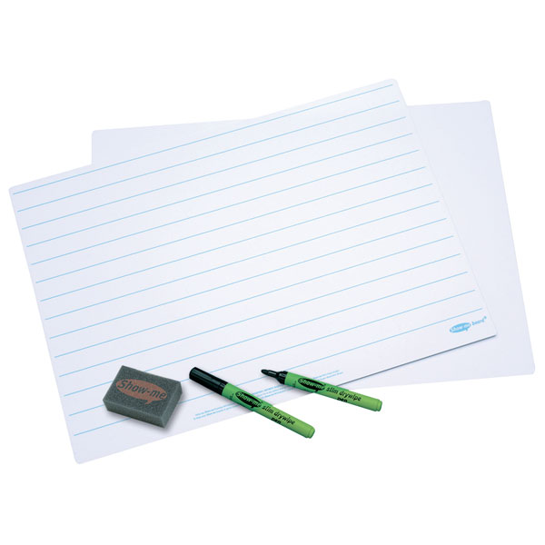 Image of Show-Me Lined Dry Wipe Boards A3 (Pack of 5)