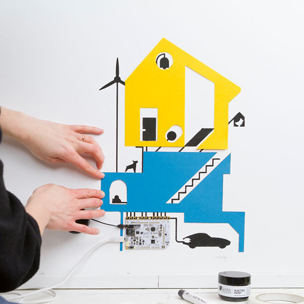 House connected with electric paint and touch board
