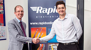 Gary Weston, managing director of Tep Hex (left), with Adam Caddy, marketing manager of Rapid Electronics